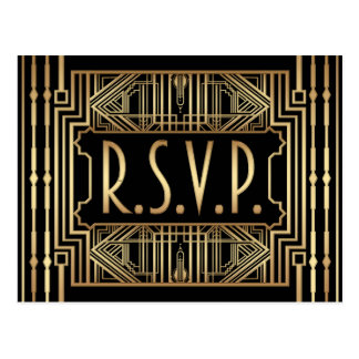 Old Hollywood Great Gatsby Style Wedding RSVP Postcard