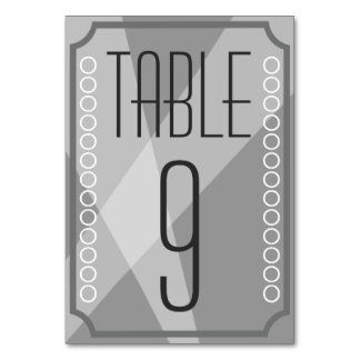 Old Hollywood Style Table Number cards