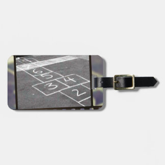 Old hopscotch game luggage tag