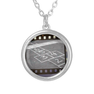 Old hopscotch game silver plated necklace