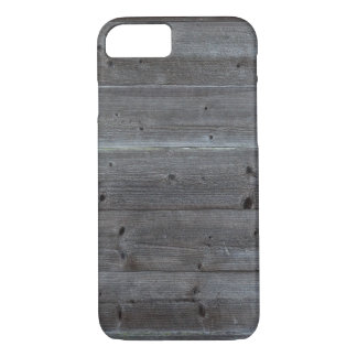 Old horizontal black plank wall iPhone 7 case