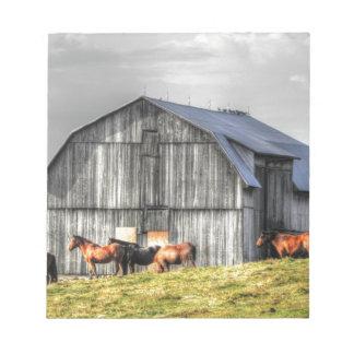 old horse barn notepad