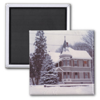 Old House in Winter Square Magnet