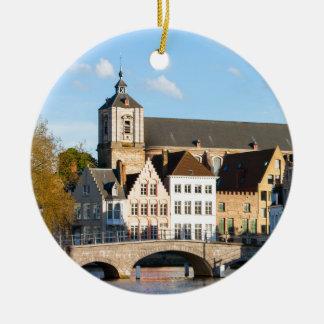 Old houses in Bruges, Belgium Round Ceramic Decoration
