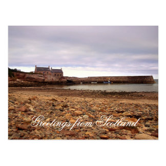 Old houses on the beach , Greetings from Scotland Post Cards