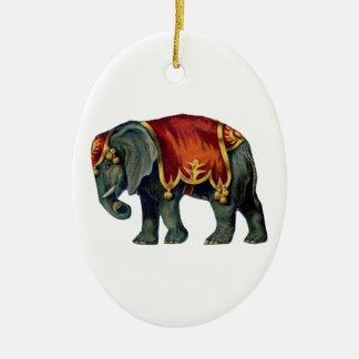 Old iIustração of circus elephant Ceramic Oval Decoration