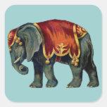 Old iIustração of circus elephant Square Stickers