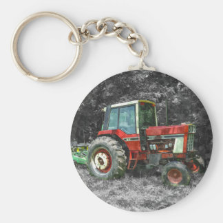 Old International Tractor Painterly Basic Round Button Key Ring