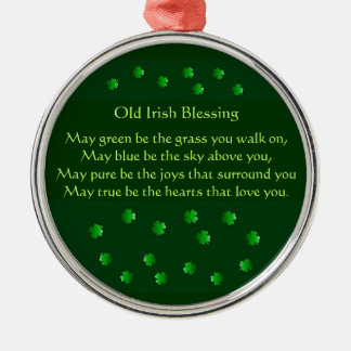 Old Irish Blessing Silver-Colored Round Decoration