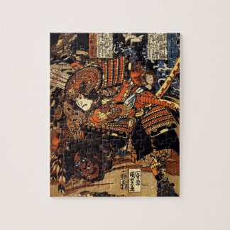 Old Japanese Painting of Samurai Fighting c.1800s Jigsaw Puzzle