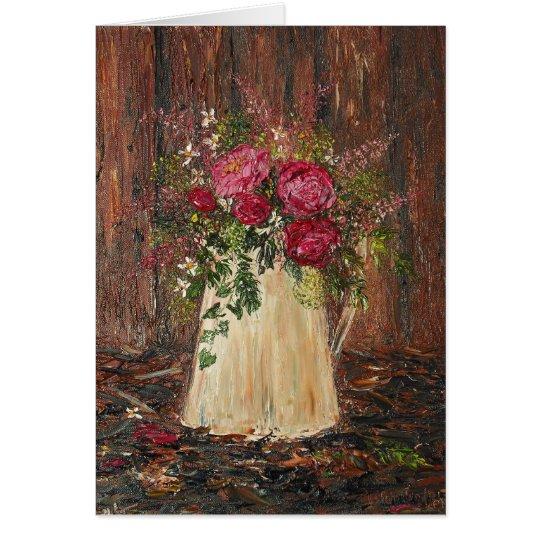 Old Jug of flowers Card
