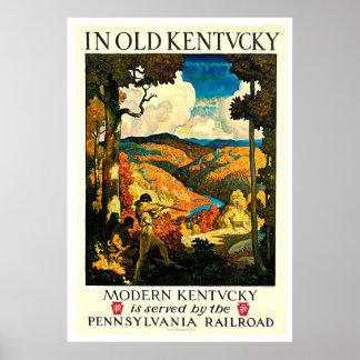 Old Kentucky Vintage Railroad Travel Advertisement Poster