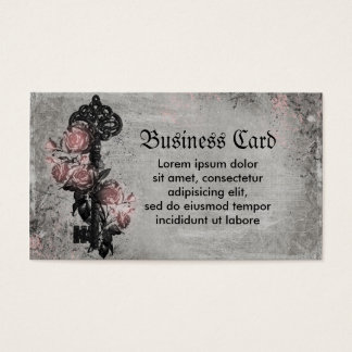 Old Key and Roses Business Card