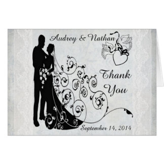 Old Lace Wedding Day Silhouettes Personalized Card