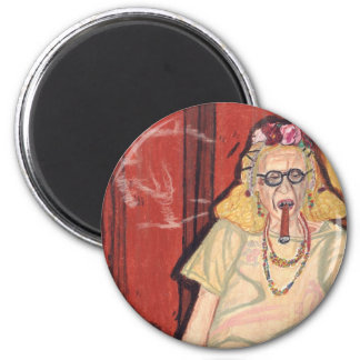 old lady and cigar 6 cm round magnet