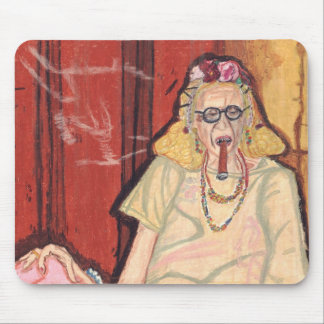 old lady and cigar mouse mat