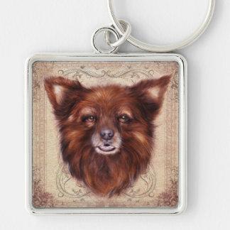 Old Lady Kometka dog animal portrait painting Keychains
