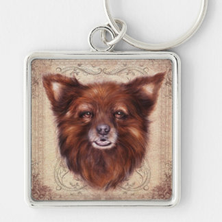 Old Lady Kometka dog animal portrait painting Silver-Colored Square Key Ring