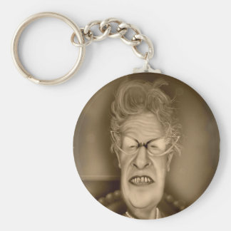 Old Lady OAP Vintage Caricature Retro Basic Round Button Key Ring