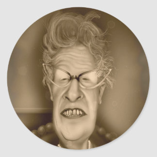 Old Lady OAP Vintage Caricature Retro Round Stickers