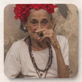 Old lady smoking cuban cigar in Havana Beverage Coaster