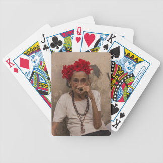 Old lady smoking cuban cigar in Havana Bicycle Playing Cards