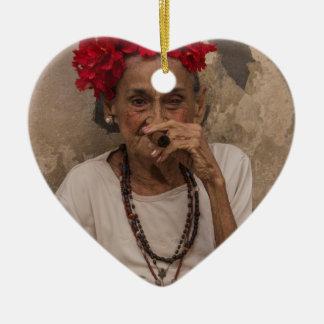 Old lady smoking cuban cigar in Havana Ceramic Heart Decoration