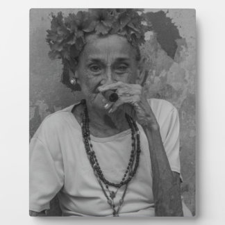 Old lady smoking cuban cigar in Havana Display Plaque