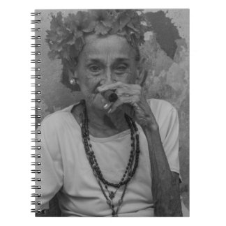 Old lady smoking cuban cigar in Havana Notebook