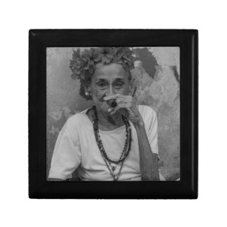 Old lady smoking cuban cigar in Havana Small Square Gift Box