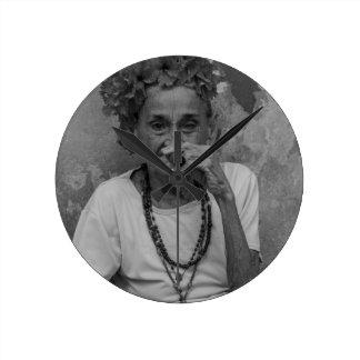 Old lady smoking cuban cigar in Havana Wallclocks