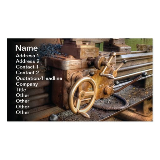 Old lathe machine business card template
