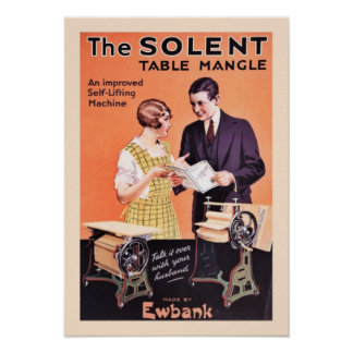 Old Laundry Table Mangle Poster