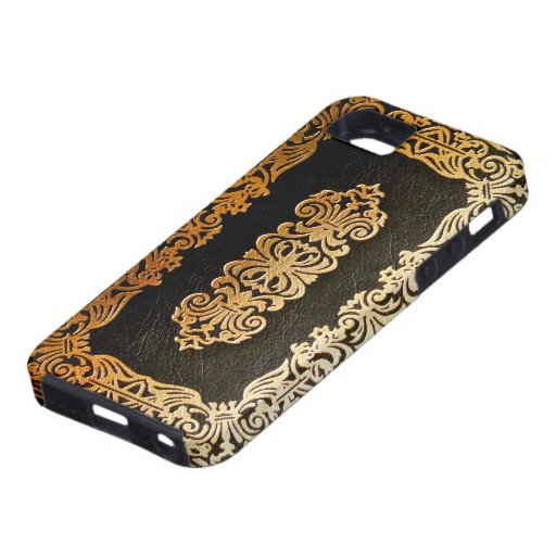 Old Leather Book Iphone Cover : Old leather black gold book cover case for the iphone