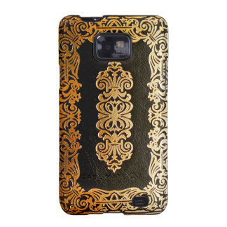 Old Leather Black & Gold Book Cover Galaxy S2 Cases
