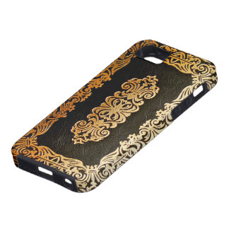 Old Leather Black & Gold Book Cover Case For The iPhone 5