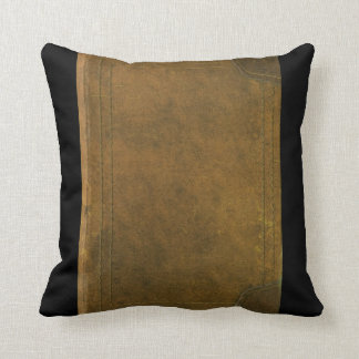 old leather book cover throw pillow