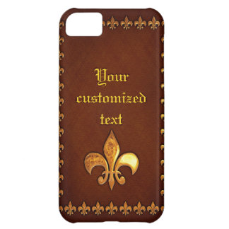 Old Leather Cover with golden Fleur-de-Lys - iPhone 5C Case