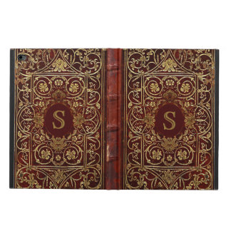 Old Leather Gilded Book Cover Monogram
