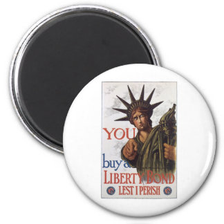"Old ""Liberty Bond""  U.S. War Poster c. 1917 6 Cm Round Magnet"