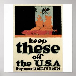 "Old ""Liberty Bonds""  U.S. War Poster c. 1918"
