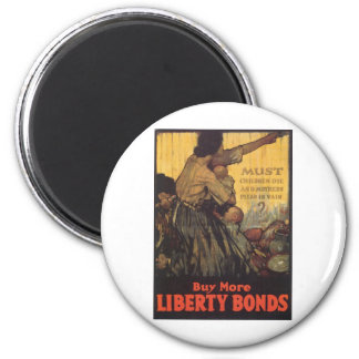 "Old ""Liberty Bonds""  U.S. War Poster c. 1918 6 Cm Round Magnet"