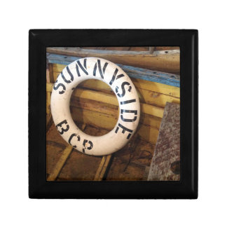 Old Life Preserver In An Abandoned Cannery Small Square Gift Box