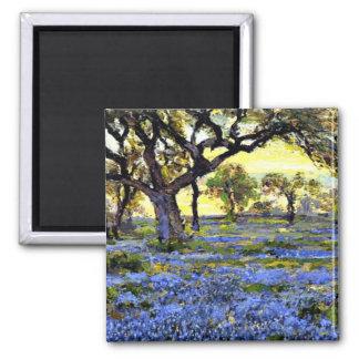 Old Live Oak Tree and Bluebells - Onderdonk art Square Magnet