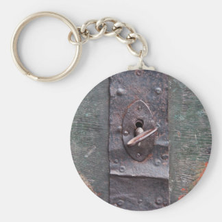 Old lock with key basic round button key ring