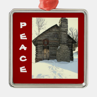 """""""OLD LOG CABIN IN SNOW"""" CHRISTMAS ORNAMENT"""