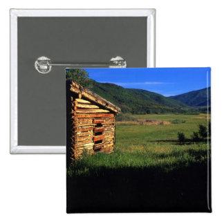 Old log homestead near Park City, Utah. (P.R.) 15 Cm Square Badge