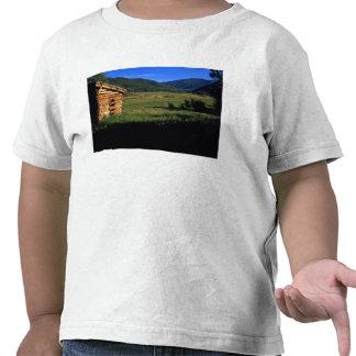 Old log homestead near Park City, Utah. (P.R.) T-shirts