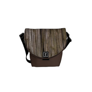 Old log texture messenger bags