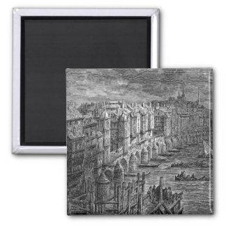 Old London Bridge 1694 Square Magnet